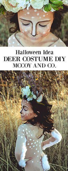Hunters and their Prey Deer Costume Tutorial Deer Costume Diy, Girl Deer Costume, Deer Costume For Kids, Diy Halloween Costumes For Girls, Cute Halloween Costumes, Halloween Diy, Halloween Decorations, Halloween Recipe, Women Halloween