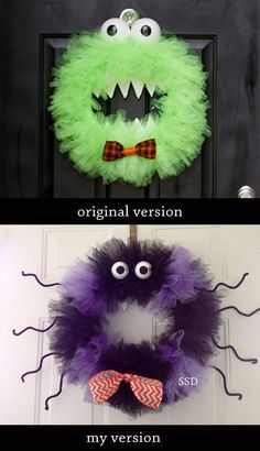 Halloween Monster Tulle Wreath : this is a great tutorial, so easy and fun! I made my version into a scary spider by alternating tulle colors and adding pipe cleaner legs. Loved this! #nailedit http://www.babyrabies.com/2012/09/boo-its-a-monster-of-a-wreath-tutorial/
