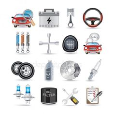 Car parts and service - Stock Vector , Oil Filter, Filters, Car Repair Garages, Battery Icon, App Marketing, Free Cars, Car Sketch, Car Engine, Go Shopping