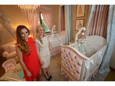 Stephanie Avila, left, and Ashley Pereida of Rockabye Mommy in Newport Beach, show off their design for the nursery room at the Philharmonic House of Design.The inspiration for the twin girls nursery was girly sophisticated, using french-inspired nursery pieces with a color palette of blush pink and baby blue. said Avila. Every piece is custom designed from @AFK with silver and gold gilded accents. #ocregister #rockabyemommy #afk