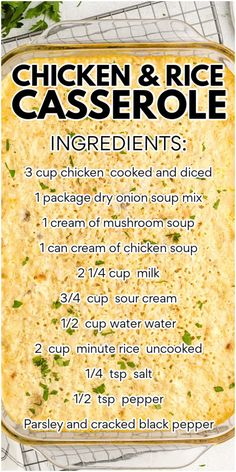 Easy Casserole Recipes, Casserole Dishes, Pasta Dishes, Food Dishes, Main Dishes, Cream Of Chicken Soup, Cream Soup, Chicken Rice Casserole, Cooking Recipes