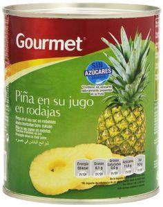 1,73€ - Gourmet - Piña en su jugo en rodajas - Sin azúcares añadidos - 820 g