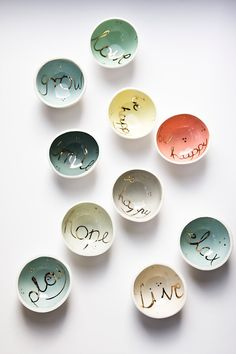 WISHING WELLS, small porcelain bowls. pastel and gold keepsake dishes…