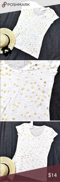 """Style & Co Sport Cotton Gold Star Cap Sleeve Top Cute and comfortable white burnout essential tee-shirt with gold stars. New with tags. Bust: 44""""; length in the back from the shoulder to the hem: 28 1/2"""". Measurements are approximate. Smoke free home. 🌺Thank you for shopping my closet 😊🌺 Style & Co Tops Tees - Short Sleeve"""