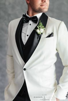 Black and white groom suite, groom buttonhole Wedding Black, Gold Wedding, Groom Buttonholes, White Weddings, Event Company, White Orchids, Grooms, Photo Booth, Wedding Planner