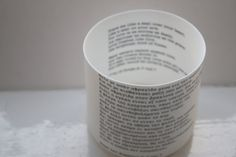 Handmade fine bone china vessel with Greek song lyrics in both Greek and English, for a posy or simple inspiration.