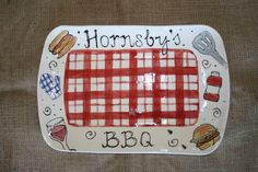 Personalized rectangular BBQ serving platter by dianeziegler, $49.00