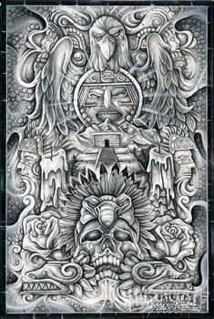 Check out Manuel Luis Golden's winning artwork from the February/March 2013 issue of Lowrider Arte. - Lowrider Arte Magazine Check out Manuel Luis Golden's winning artwork from the February/March 2013 issue of Lowrider Arte. Aztec Tattoos Sleeve, Aztec Tribal Tattoos, Mayan Tattoos, Mexican Art Tattoos, Aztec Tattoo Designs, Aztec Art, Lettrage Chicano, Chicano Art Tattoos, Chicano Drawings