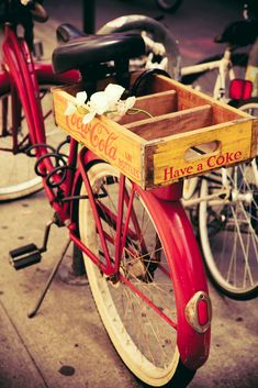 Vintage Red Bicycle and Yellow Coca Cola Crate - New York City   (Inspiration for me to replace my vintage style red bike that was stolen.)                                                                                                                                                     More