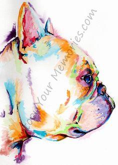 French bulldog watercolor print