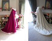 Princess Anna Bridal cape 65 inch Raspberry / Ivory Satin (2 tone) wedding cloak Handmade in USA