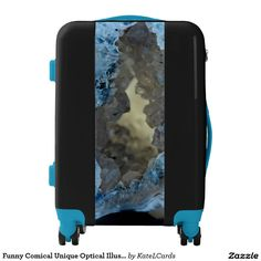 Funny Comical Unique Optical Illusion Blue Crystal Luggage