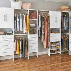 Love this seamless mesh of style + storage? Make it your own. Featured: Style+, available exclusively at @homedepot #MasterCloset #HomeOrganization #DIY #HomeOrganization #HomeDepot Spare Bedroom Closets, Wood Closet Systems, Home Depot Closet, Container Store Closet, Closet Conversion, Closet Makeover Diy, Free Standing Closet, Closetmaid, Closet Remodel