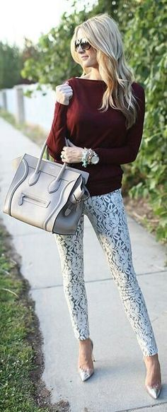 Lace is in in all types of clothing.  Here, lace skinny jeans are accented with a softer look in shoes, bag and accessories.  So cute!