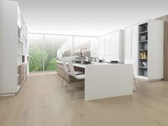 bleeched red oak floors, darker panel accents, white kitchen