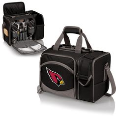 Picnic Time Malibu Picnic Tote (Arizona Cardinals) Digital Print - Black  The Malibu is the most convenient go-anywhere picnic pack you can find. Fully insulated, it's made of 600D polyester and comes with deluxe picnic service for two.