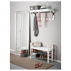 HEMNES white, Hat rack, 85 cm - IKEA Shoe Storage White, Small Storage Boxes, Bench With Shoe Storage, Coat Storage, Storage Racks, Small Bench, Easy Storage, Storage Organization, Put On Your Shoes