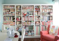 Like the book shelves along the wall...and the sewing station.