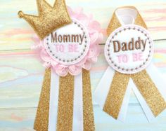Pink & Gold Daddy To Be Badge Baby Shower by AlittleSweetBowtique