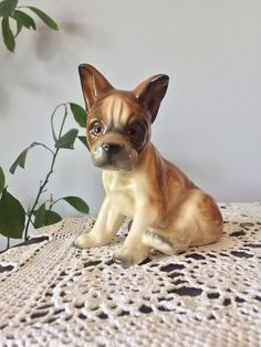 Beautiful French Bulldog Ceramic Porcelain Figurine -  Mid Century, Vintage, Home Decor, Collectibles