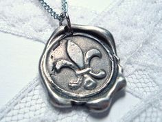 Wax Seal Pendant Fleur de Lis. I totally love RitzyMisfit (Etsy), PLUS she's local (UT)!