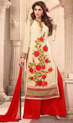 Captivate the limelight donning this beige color georgette embroidered palazzo dress. The lace and resham work on attire personifies the entire look. #GloriousFloralReshamWorkRedPalazzoDress