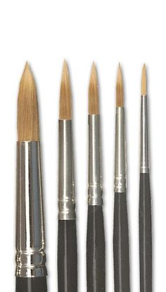 Performance minded super strong filament hair brushes that withstand harsh painting techniques even on rough surfaces. They offer a quick, and flawless brush response coming to a split-proof, extra fine point or a neat hard edge. Set of 5 - Includes size Best Watercolor Brushes, Watercolor Paintings, Watercolour, Discount Art Supplies, Art Tutor, Drawing Sketches, Drawings, Painting Studio, Painting Techniques