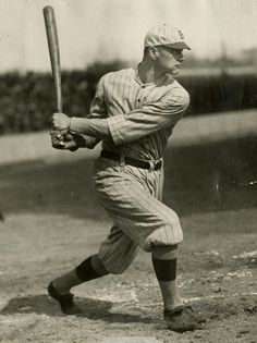 Zack Wheat, batting while with Brooklyn - Charles M. Conlon/National Baseball Hall of Fame Library