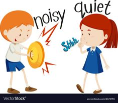 Opposite adjectives noisy and quiet Royalty Free Vector English Teaching Materials, Learning English For Kids, English Lessons For Kids, Kids English, Teaching English, English Opposite Words, Learn English Words, Preschool Learning Activities, Infant Activities
