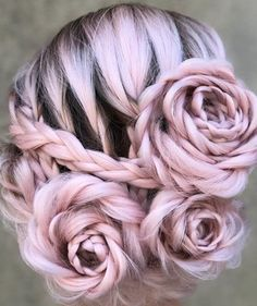 20 Rose Braid Hairstyles You Will Love in Who does not love flowers? Prepare yourselves to these prettiest rose braids trend. There is no doubt that rose braid hairstyles are the latest hairst. Braided Hairstyles Updo, Fancy Hairstyles, Wedding Hairstyles, Rose Hairstyle, Braided Updo, Hairstyle Ideas, Bun Braid, Oscar Hairstyles, Pink Wedding Nails