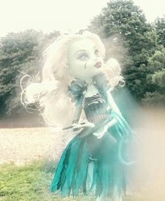 Frankie Stein from monster high at Ilkley river side. Photo by Sally Heather Elizabeth Taylor. July 2016.