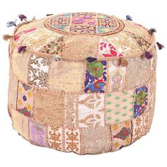 MyCrafts Traditional Beige Ottoman Cover Pouf Home Decorative Living Room Foot Stool Vintage Indian Ottomans Pouf Covers Handmade Patchwork Embroidered Floor Chair Cushion Cover Pouf Ottoman, Ottoman Cover, Cushion Covers, Cushion Pillow, Floor Pouf, Floor Pillows, Floor Chair, Bean Bag Rounds, Turquoise Cushions