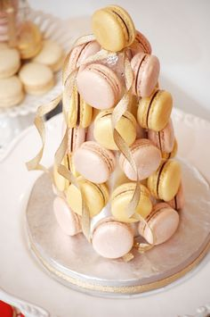Pink and gold macarons tower