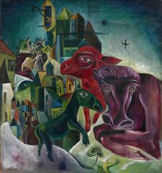 City with Animals by Max Ernst, 1914, Guggenheim Museum Size: 66.6x62.3 cm Medium: Oil on burlap Solomon R. Guggenheim Museum, New York Estate of Karl Nierendorf, By purchase © 2016 Artists Rights...