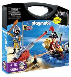 PLAYMOBIL Pirate Case Set 10151327 40 Advantage card points. The Playmobil Pirate Raft Carry Case includes a Playmobil Pirate on a floating raft. Use the firing cannon to protect from approaching enemies The set comes in a handy carry  http://www.MightGet.com/april-2017-1/playmobil-pirate-case-set-10151327.asp