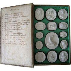 Antique Grand Tour Plaster Intaglios c.1820 Paoletti Impronte Faux Book Box Collection