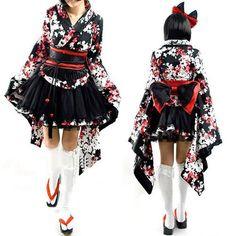 I found 'Cute Gothic Lolita Geisha Girl Kimono Dress' on Wish, check it out!
