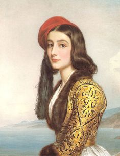 """Katerina Rosa Botsaris"", 1841 Painting by Joseph Karl Stieler, German, 1781 - 1858 Joseph, Greek Beauty, Spanish Woman, Lady In Waiting, Portraits, Portrait Paintings, 19th Century Fashion, Sari, Greek Art"