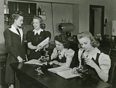 Mudelein students using high-tech microscopes in their 1941 biology class