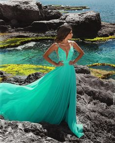 Sexy Deep V Neck Green Long Prom Dress with Straps, Sexy Evening Party Dress - Prom Dresses Design Straps Prom Dresses, Pretty Prom Dresses, Ball Dresses, Homecoming Dresses, Cute Dresses, Bridesmaid Dresses, Wedding Dresses, Prom Gowns, Grad Dresses Long