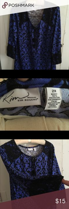 Kim Rogers Women's Blouse This is a barely used blouse that looks brand new. It is a pretty blue pattern with black lace overlay on sleeves, around top of front, and all around the back at the top. Kim Rogers Tops Blouses
