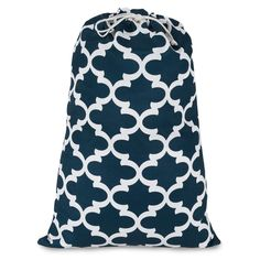 Printed Laundry Bag-Navy Trellis