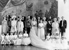 prettylittlefools:  Wedding of Prince Edward, Duke of Kent, and Miss Katharine Worsley, June 8, 1961-the couple with their families, among those standing l-r Princess Alexandra, Princess Marina, Dowager Duchess of Kent, Queen Elizabeth, Prince Michael, the Groom and Bride, Princess Anne (chief bridesmaid), Prince Charles, Duke of Edinburgh, Queen Mother