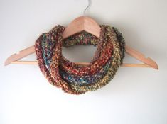 Woodland Scarf Necklace .. Multicolor Scarf Necklace .. Indie Clothes .. Crochet Lariat.. Chain Cowl .. DottieQ Chain Scarf .. Cute Scarves on Etsy, £17.51