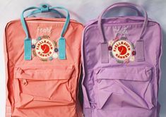 These kankens are perfect backpacks for school! even has and laptop bags which are a little bigger than the… Diy Embroidery Designs, Creative Embroidery, Cute Embroidery, Mochila Kanken, Kanken Backpack, Cute Backpacks, School Backpacks, Aesthetic Backpack, Backpack Decoration