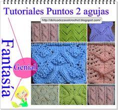 Delicadezas en crochet Gabriela: 7 Tutoriales de puntos fantasía en dos agujas
