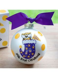$14.50 4 LSU My First Christmas Glass Keepsake Ornament with Gift Box