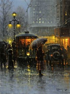 G Harvey b 1933 Trolley Stop New Orleans Walking In The Rain, Singing In The Rain, Rainy Night, Rainy Days, Rainy Mood, Nocturne, Parasols, Umbrellas, I Love Rain