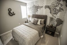 Love the atlas wallpaper. Beautiful compliment to our show home guest bedroom. Beautiful Compliments, New Home Builders, New Homes, Floor Plans, Flooring, Wallpaper, Bedroom, Furniture, Design