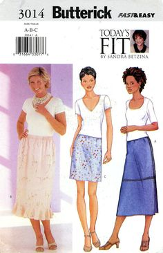 Sewing Pattern - Misses 2001 Straight Skirt, Butterick 3014